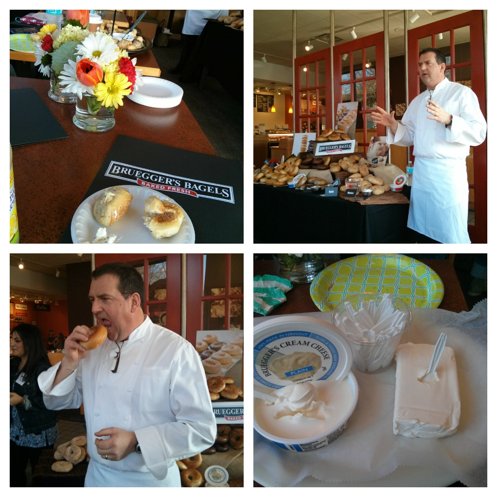 "Everything was perfect-down to the flowers on our table. Executive Chef Philip Smith introduces himself & Bruegger's bagels. Basic cream cheese versus Bruegger's plain cream cheese. ""If it doesn't crunch, it's just a roll with a whole"" Chef Smith explains what makes their bagels special."