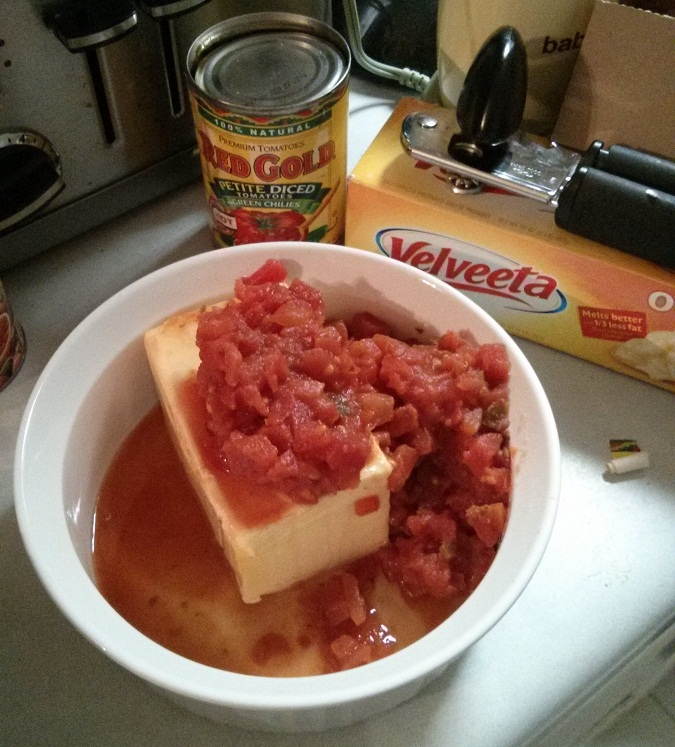 REd Gold & Velveeta, all ready to be microwaved into delicious queso dip.