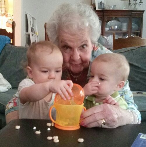 Nana, Lucy & Zach & their snack cup