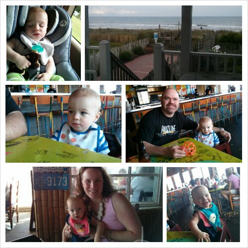 Zach slept most of the trip down Saturday. My view of the Atlantic from the back deck Saturday afternoon. Zach, J, Lucy & I at dinner Sunday night at River City Cafe.