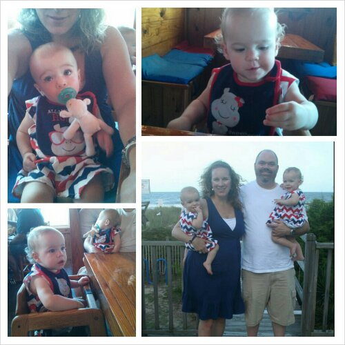 Wednesday we celebrated the almost 4th with a beach day then breaking out their chervon Lolly Wolly Doodle outfits for dinner at Inlet Crab House & a family photo.