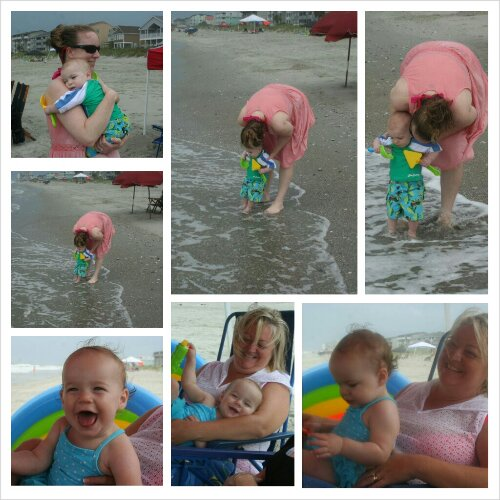 Sunday Zach touched the ocean for the first time. He wasn't a big fan. Lucy had a blast on her aunt Sissy's lap on our rainy beach morning.
