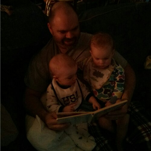 J reading to Zach & Lucu