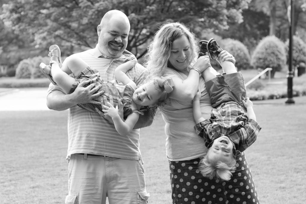 Lucy & Zach 2 year family B&W