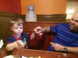 Zach & Daddy Boss Baby handshake